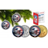 NEW ENGLAND PATRIOTS Colorized JFK Half Dollar US 2-Coin Set NFL Christmas Tree Ornaments - Officially Licensed