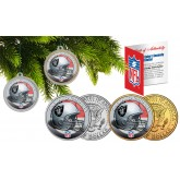 OAKLAND RAIDERS Colorized JFK Half Dollar US 2-Coin Set NFL Christmas Tree Ornaments - Officially Licensed