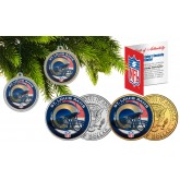 ST LOUIS RAMS Colorized JFK Half Dollar US 2-Coin Set NFL Christmas Tree Ornaments - Officially Licensed