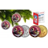 WASHINGTON REDSKINS Colorized JFK Half Dollar US 2-Coin Set NFL Christmas Tree Ornaments - Officially Licensed
