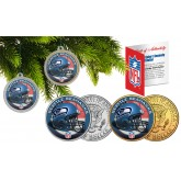 SEATTLE SEAHAWKS Colorized JFK Half Dollar US 2-Coin Set NFL Christmas Tree Ornaments - Officially Licensed