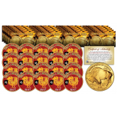 2017 Chinese New Year * YEAR OF THE ROOSTER * 24 Karat Gold Plated $50 American Gold Buffalo Indian Tribute Coin (LOT OF 20)