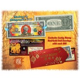 2016 Chinese New Year - YEAR OF THE MONKEY - Gold Hologram Legal Tender U.S. $1 BILL - $1 Lucky Money