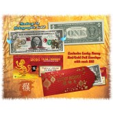 Lot 0f 25 - 24KT GOLD 2016 Chinese New Year - YEAR OF THE MONKEY - Legal Tender U.S. $1 BILL - $1 Lucky Money