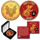 2020 Chinese New Year * YEAR OF THE RAT * 24K Gold Plated 1 OZ AMERICAN SILVER EAGLE Coin with DELUXE BOX