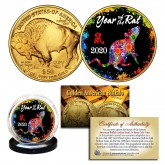 2020 Chinese New Year * YEAR OF THE RAT * 24 Karat Gold Plated $50 American Gold Buffalo Indian Tribute Coin - PolyChrome