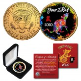 2020 Chinese New Year * YEAR OF THE RAT * 24K Gold Plated JFK Kennedy Half Dollar Coin with DELUXE BOX - PolyChrome