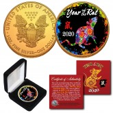 2020 Chinese New Year * YEAR OF THE RAT * 24K Gold Plated 1 OZ AMERICAN SILVER EAGLE Coin with DELUXE BOX - PolyChrome