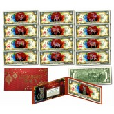 Chinese Zodiac RED POLYCHROME BLAST Lunar New Year $2 Bills U.S. Legal Tender Currency - ALL 12 Animals PLUS CAT (13 TOTAL)